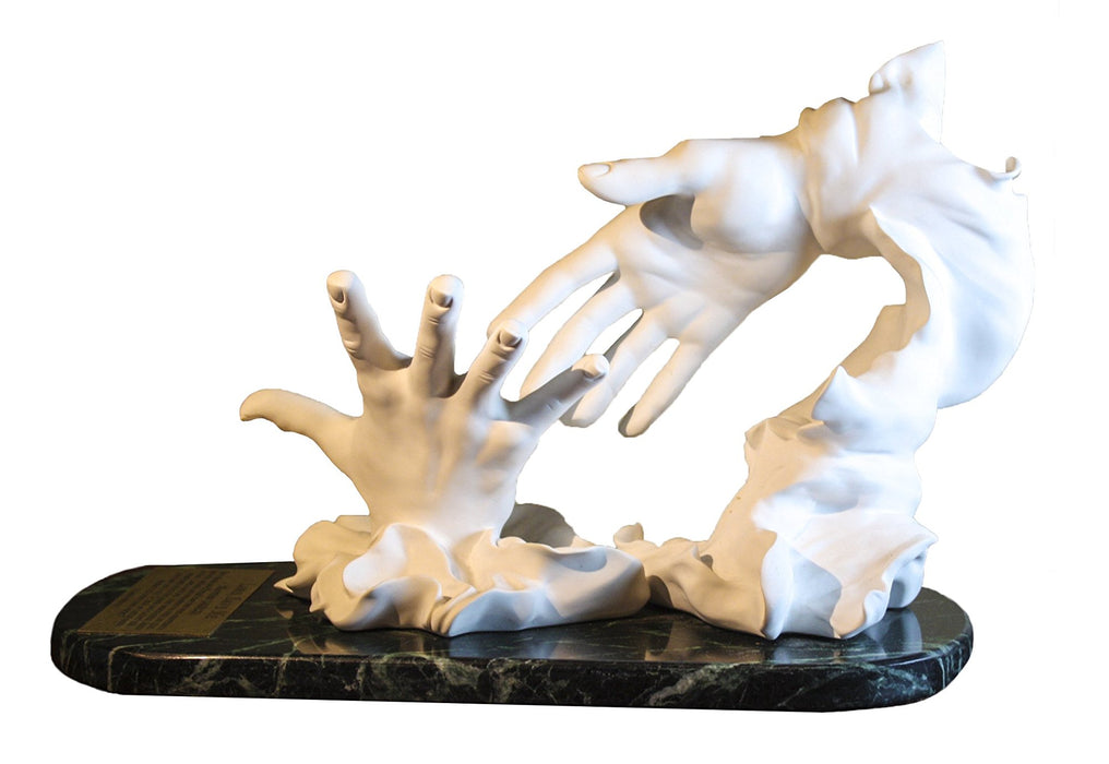 "Lord, Save Me Statue - White Cultured Marble /Green Marble Base - 14""x 9.5"" - By Marla Whitman - S46 - Christus Collection - One Moment In Time"