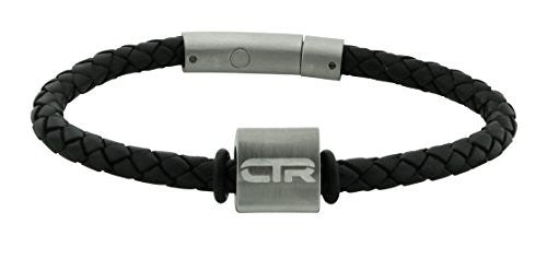 Bracelet Leather W/Stainless Steel CTR Triangle Surface- L4