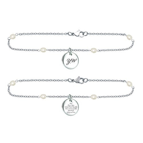 "Bracelet ""Young Women's"" Stainless Steel w/Pearl chain - K12B"