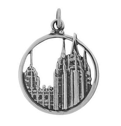 J33a Salt Lake Temple Charm Silver Plate