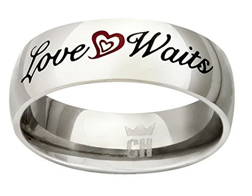 "CH3 ""True Love Waits"" Stainless Steel CTR Ring size 5"