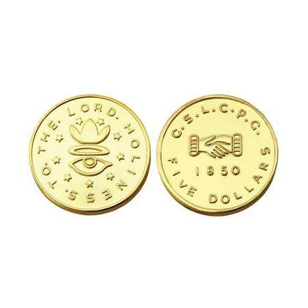 $5.00 1850 Mormon Gold Coin Replica - M10
