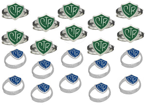 """Adjustable CTR Ring"" - 20 Pack - Green and Blue - H14G - H14B"