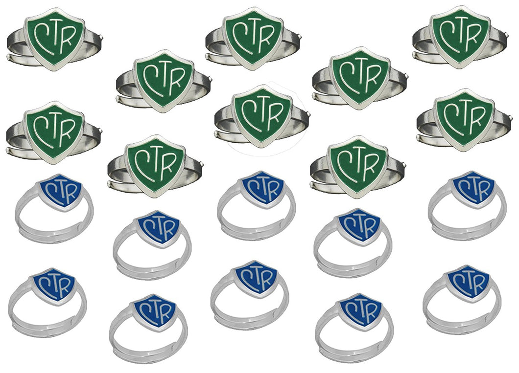 H14G - H14B Adjustable CTR Ring 20 Pack Green and Blue One Moment in Time