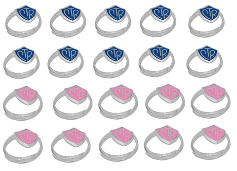 """Adjustable CTR Ring"" - 20 Pack - Blue and Pink - H14B - H14P"