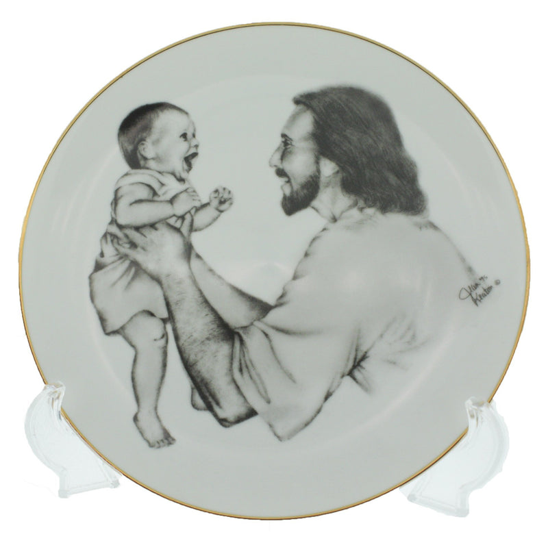 P14 Christ with Child Up Plate White China w/easel