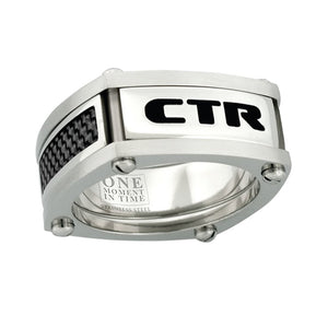 "J136- CTR Choose the Right Ring Stainless Steel w/Black Carbon fiber ""Formula 1"""