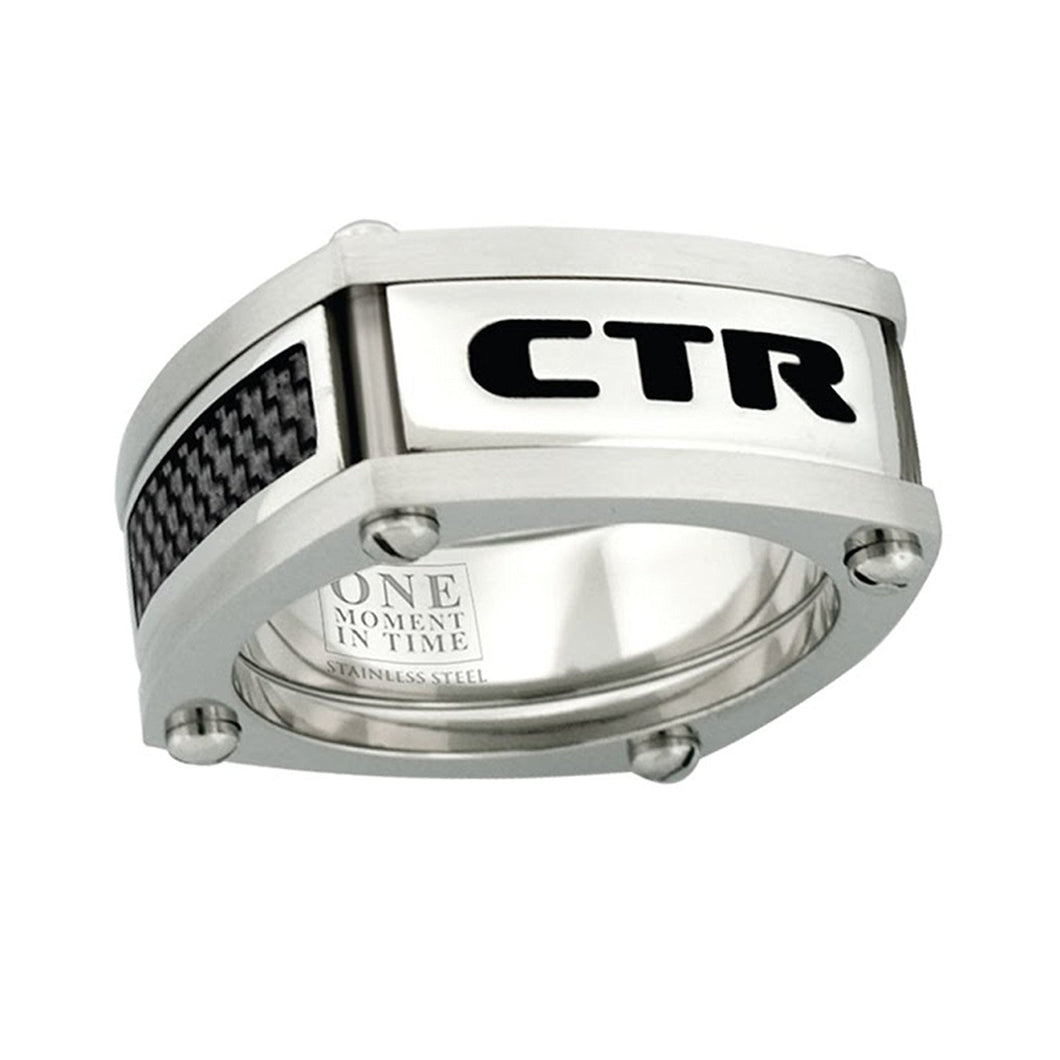 J136- CTR Choose the Right Ring Stainless Steel w/Black Carbon fiber