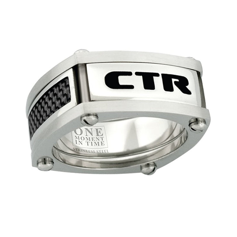 J136 CTR Ring Stainless Steel w/Black Carbon fiber Formula 1