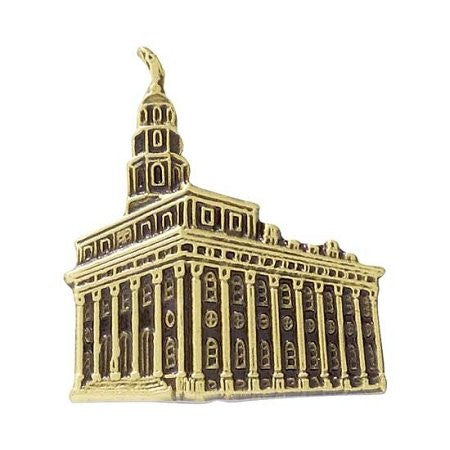 "Pin Tie Tack "" Nauvoo Temple "" Antique Gold - J107AG"