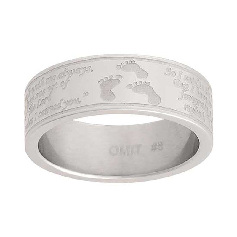 J127 Footprints CTR Ring Stainless Steel Handmade