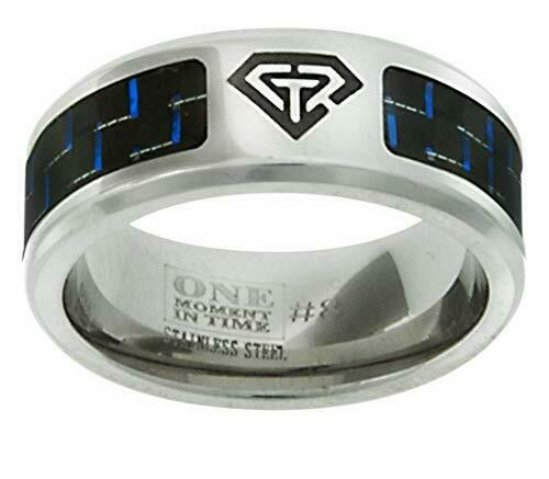 J197 CTR Ring Blue Carbon Fiber Superman Handmade