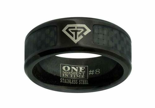 J198 CTR Ring Black Carbon Fiber Superman Stainless Handmade