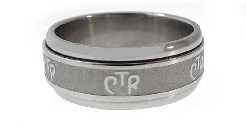 J38F CTR Ring Spinner Wide Shiny Stainless Steel One Moment In Time