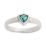 J58G CTR Ring Sterling Silver Retro Green Handmade One Moment In Time