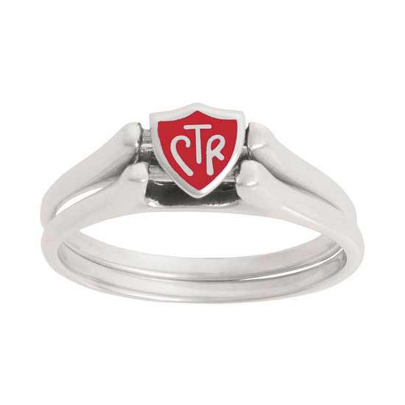 J62R Mormon LDS Unisex CTR Ring Sterling Silver Flip Red Handmade One Moment in Time