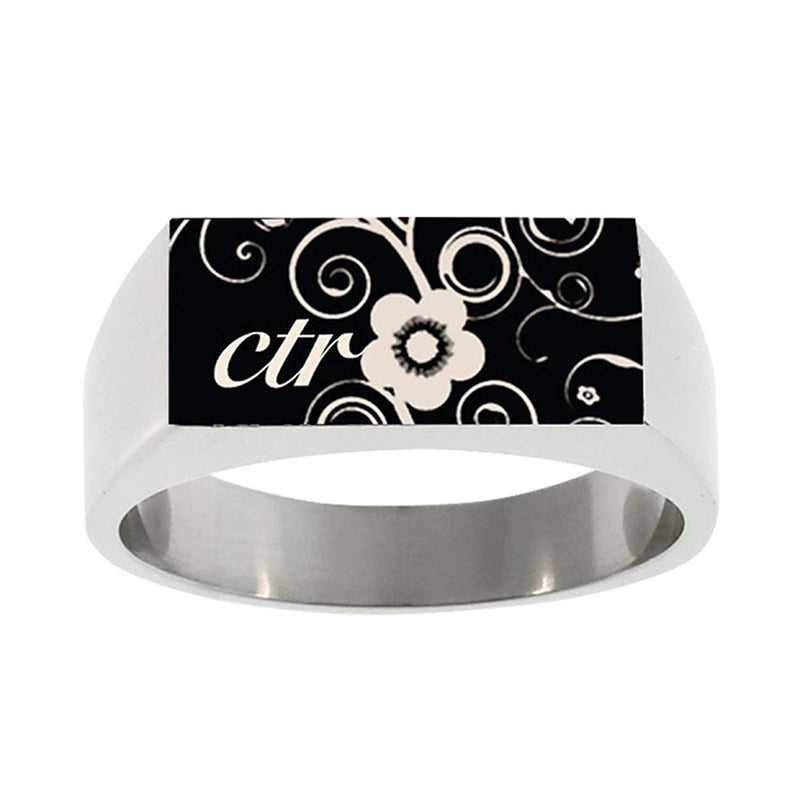 J138 CTR Ring Blossom Square Top Stainless Steel