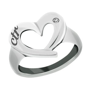 "J149 - CTR RING Stainless Steel ""CTR Love"" Heart"