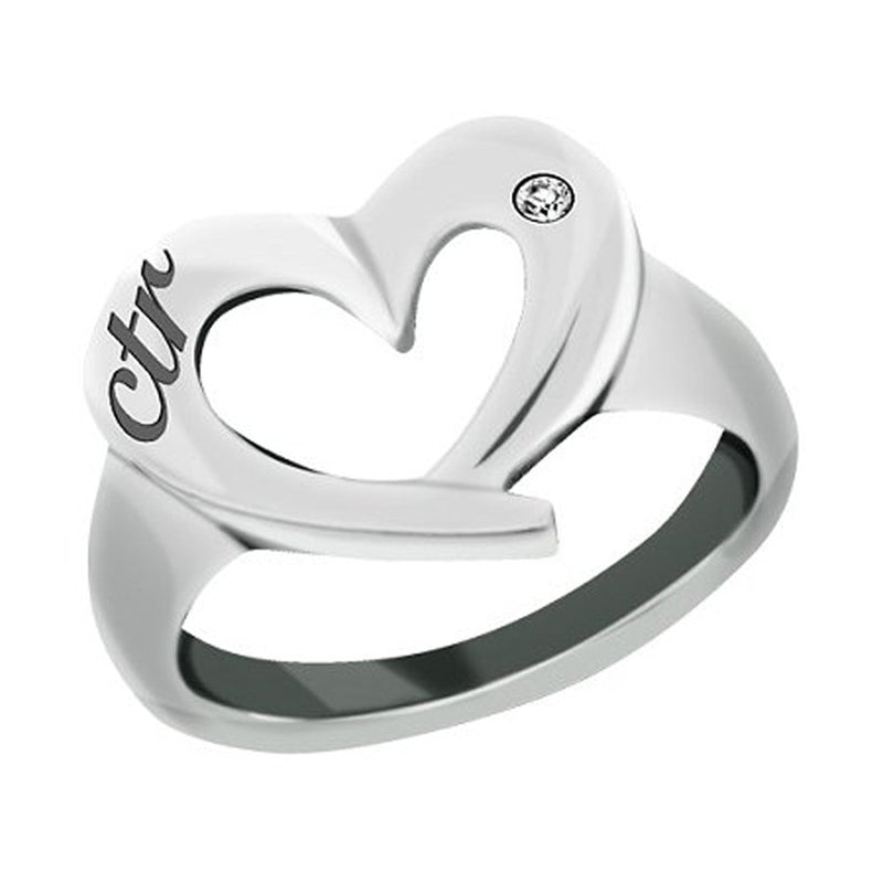 J149 CTR RING Stainless Steel CTR Love Heart