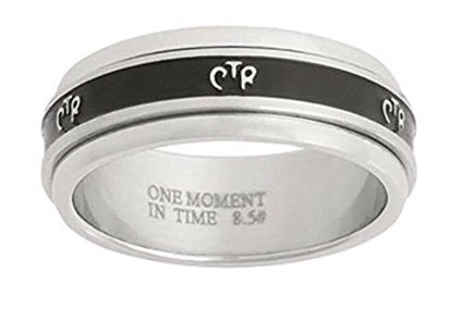 J37 Antiqued Narrow Stainless Steel Spinner CTR Ring One Moment in Time