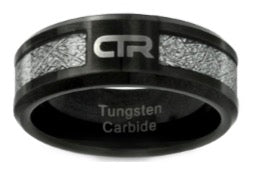 "J194 - CTR Ring ""Cosmos"" Tungsten Carbide with Imitation Meteorite Inlay"