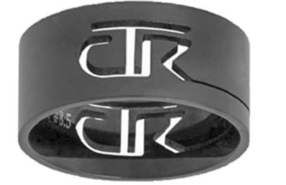 """Black Cutout"" - Stainless Steel CTR Ring - J69B"