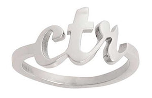 "J102- CTR Ring - Stainless Steel ""Cursive Medium"""