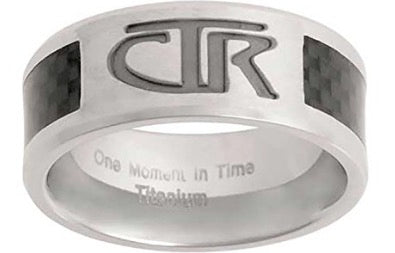 "J113 - CTR RING Titanium With Carbon Fiber Inlay ""Titan"" Designer inspired silver jewelry modern exclusive"