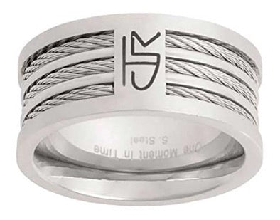 "J121 CTR Choose the Right Ring Stainless Steel ""Triple Cable"" Designer inspired jewelry modern exclusive"