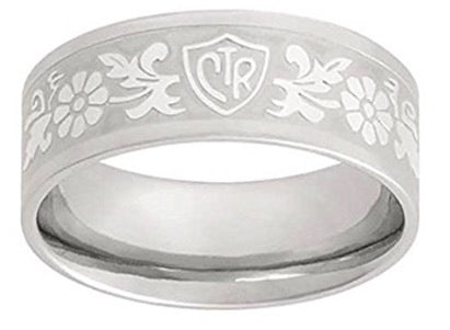 """Daisy Flower Scroll"" - Stainless Steel - CTR Ring - J125"
