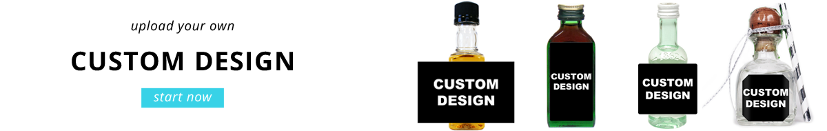 Upload your own custom design mini bottle label