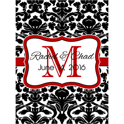 Monogram Damask - Wedding Beer Labels