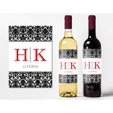 Damask Initials - Wedding Wine Labels