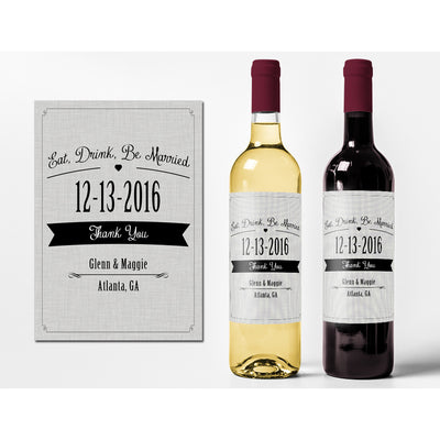 Eat, Drink, Be Married - Wedding Wine Labels