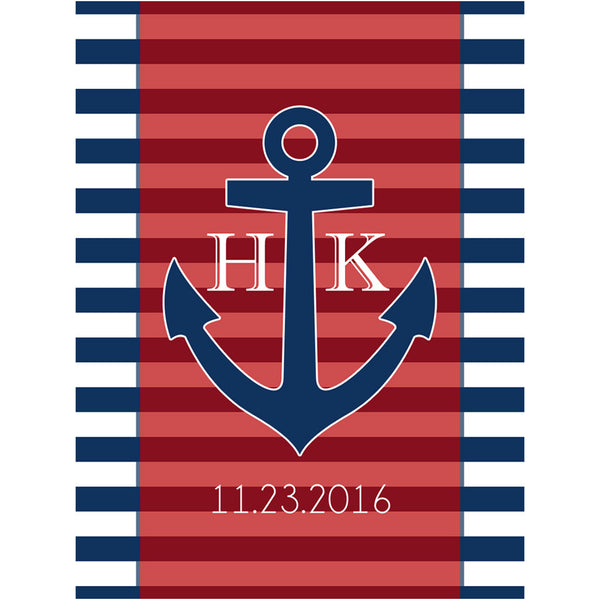 Nautical Anchor Initials - Wedding Beer Labels