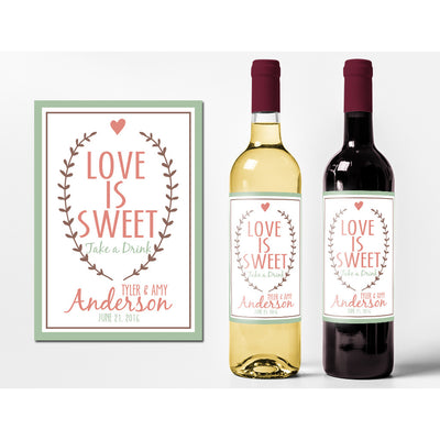 Love is Sweet - Wedding Wine Labels