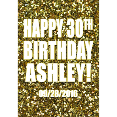 Gold Glitter - Birthday Wine Labels