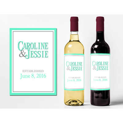 Simple Monogram - Wedding Wine Labels