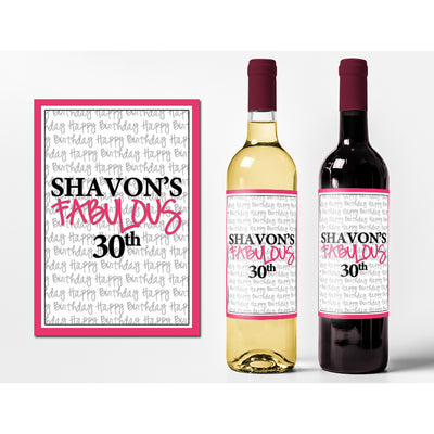 Fabulous - Birthday Wine Labels