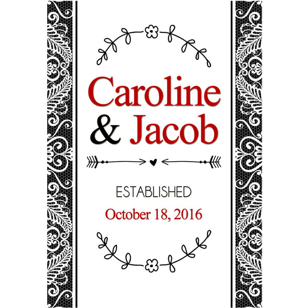 Lace Monogram - Wedding Wine Labels
