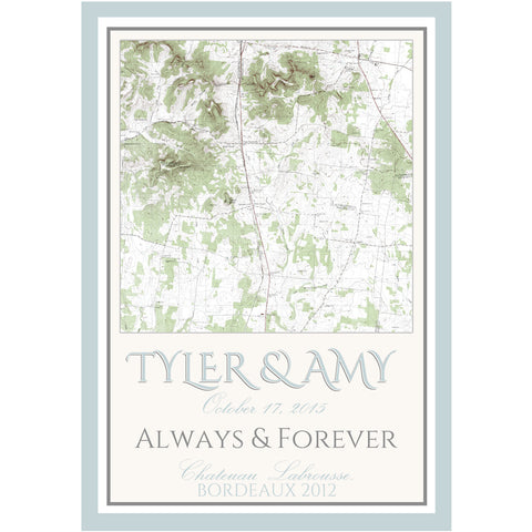 Topographical Map - Wedding Wine Labels