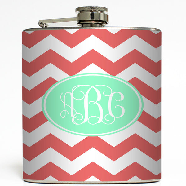 Coral and Mint Monogram - Personalized Flask