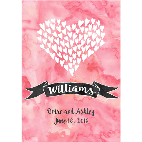 Watercolor Hearts in Heart  - Wedding Wine Labels