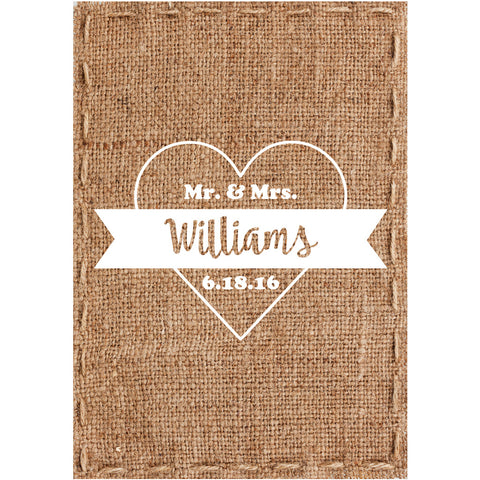Burlap Heart - Wedding Wine Labels