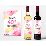 Watercolor Birthday - Birthday Wine Labels