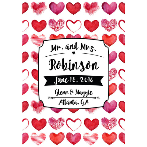 Red Hearts - Wedding Wine Labels