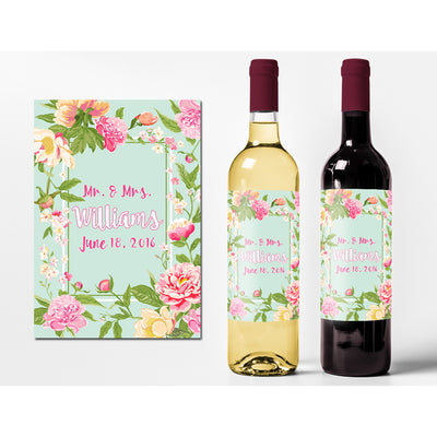 Light Blue Flower and Name - Wedding Wine Labels
