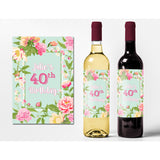 Light Blue Flower and Name - Birthday Wine Labels