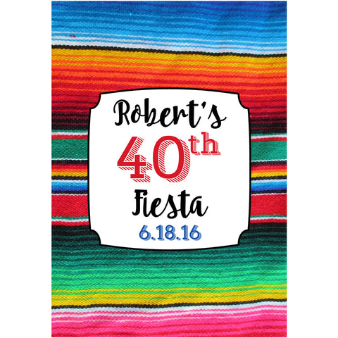 Serape Poncho Fiesta - Birthday Wine Labels