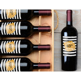 Watercolor Rugby Stripe - Birthday Wine Labels